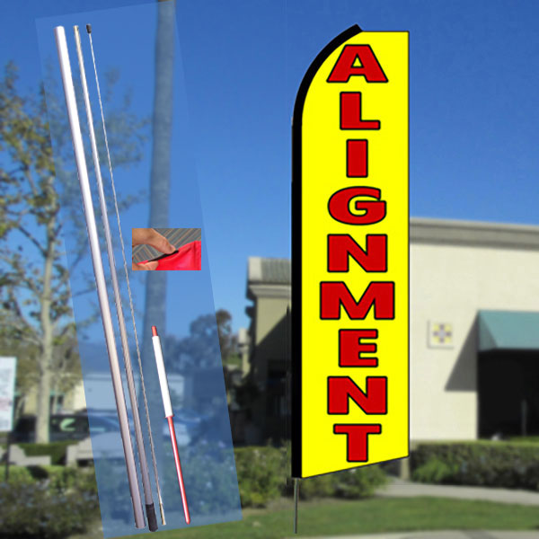ALIGNMENT (Yellow) Flutter Feather Banner Flag Kit (Flag, Pole, & Ground Mt)