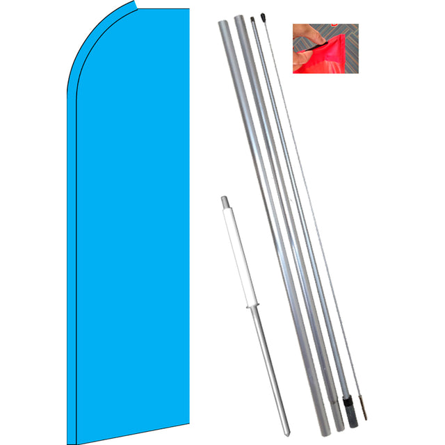 Solid CYAN (Light Blue) Flutter Feather Banner Flag Kit (Flag, Pole, & Ground Mt)