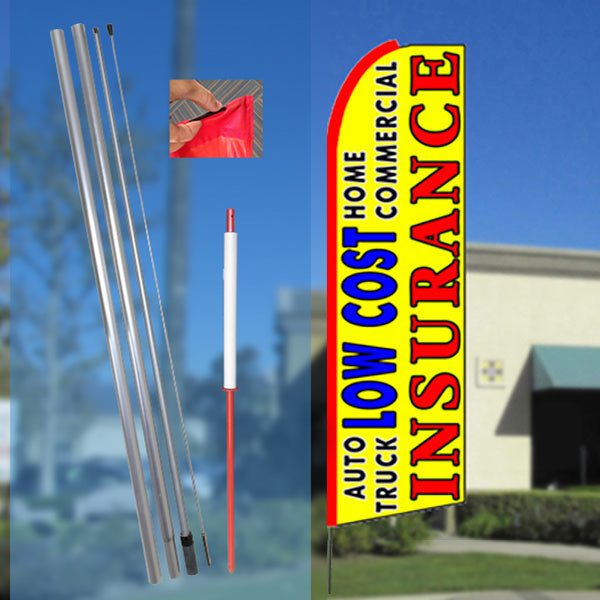 LOW COST INSURANCE (Yellow) Flutter Feather Banner Flag Kit (Flag, Pole, & Ground Mt)