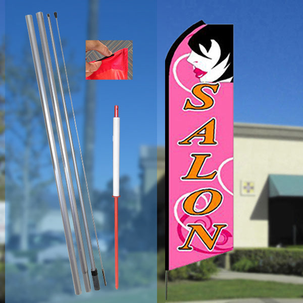 SALON (Pink) Flutter Feather Banner Flag Kit (Flag, Pole, & Ground Mt)