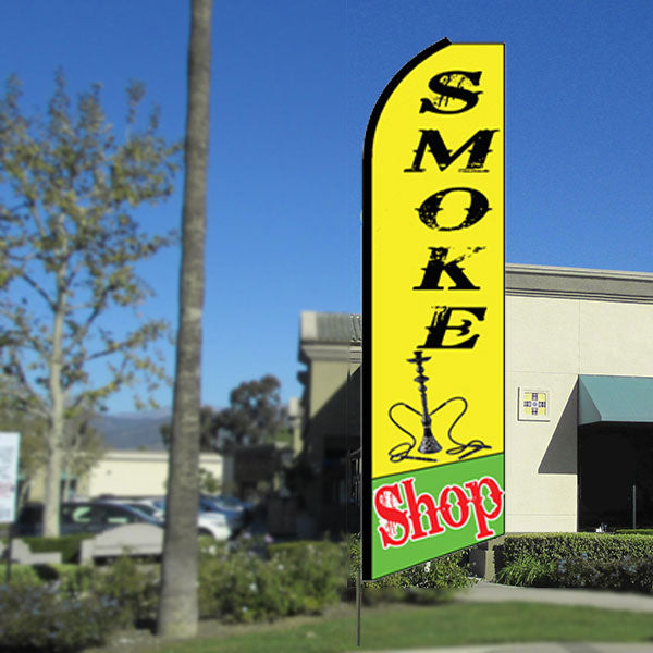 Smoke Shop Flutter Feather Banner Flag with Bundle Option (3 x 11.5 Feet)