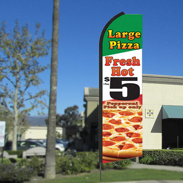 Large Pizza (Fresh Hot) $5 Flutter Feather Banner Flag with Bundle Option (3 x 11.5 Feet)