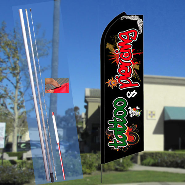 TATTOO/PIERCING (Red/Green) Flutter Feather Banner Flag Kit (Flag, Pole, & Ground Mt)