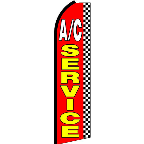 A/C Service (Checkered) Flutter Feather Banner Flag with Bundle Option (3 x 11.5 Feet)