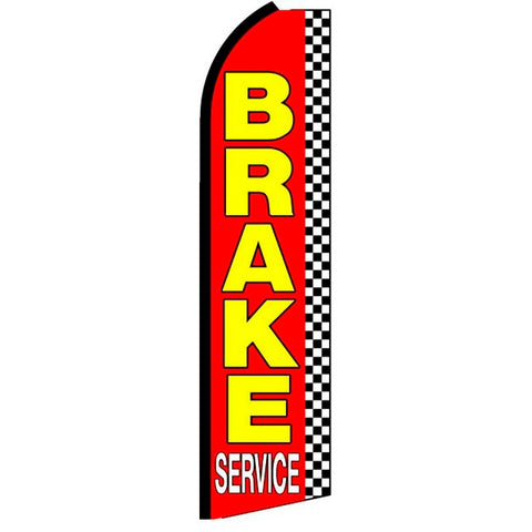 Brake Service (Checkered) Flutter Feather Banner Flag with Bundle Option (3 x 11.5 Feet)