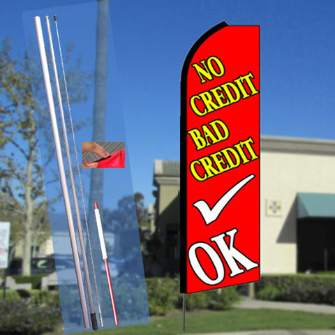 NO CREDIT BAD CREDIT OK (Red) Flutter Feather Banner Flag Kit (Flag, Pole, & Ground Mt)