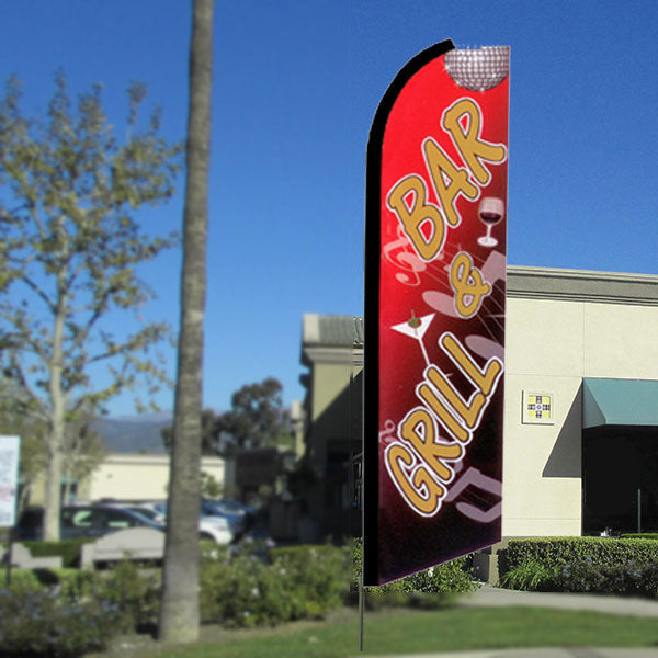 Bar & Grill Flutter Feather Banner Flag with Bundle Option (3 x 11.5 Feet)