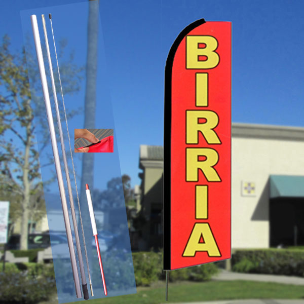 BIRRIA (Red) Flutter Feather Banner Flag Kit (Flag, Pole, & Ground Mt)