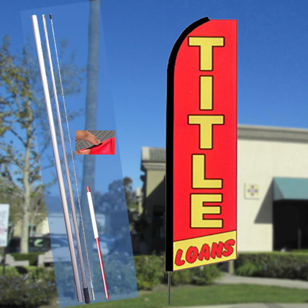 TITLE LOANS (Red/Yellow) Flutter Feather Banner Flag Kit (Flag, Pole, & Ground Mt)
