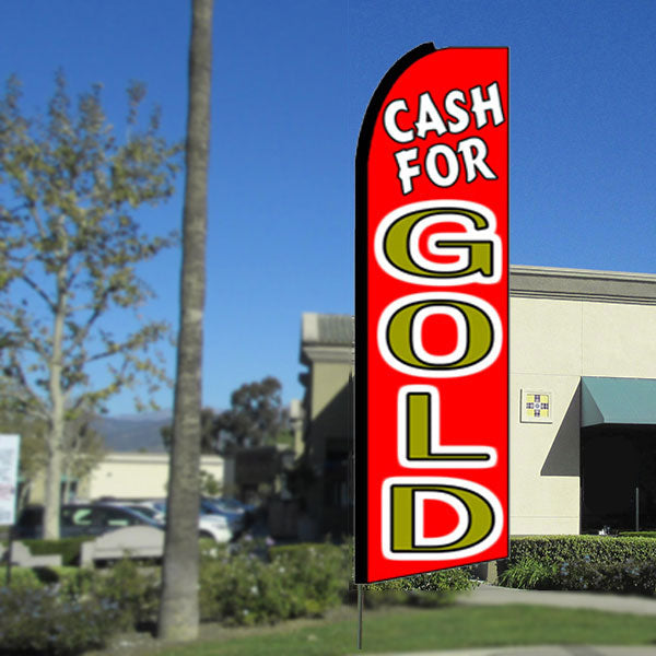 Cash For Gold Flutter Feather Banner Flag with Bundle Option (3 x 11.5 Feet)