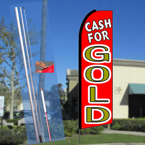 CASH FOR GOLD (Red) Flutter Feather Banner Flag Kit (Flag, Pole, & Ground Mt)