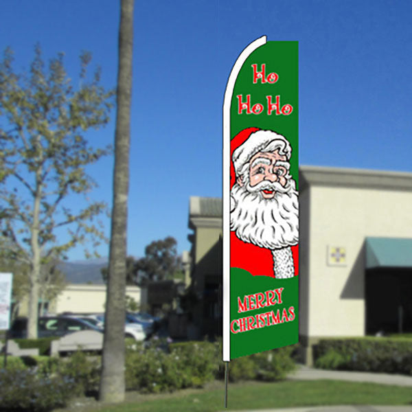 Ho Ho Ho (Merry Christmas) Flutter Feather Banner Flag with Bundle Option (11.5 x 2.5 Feet)