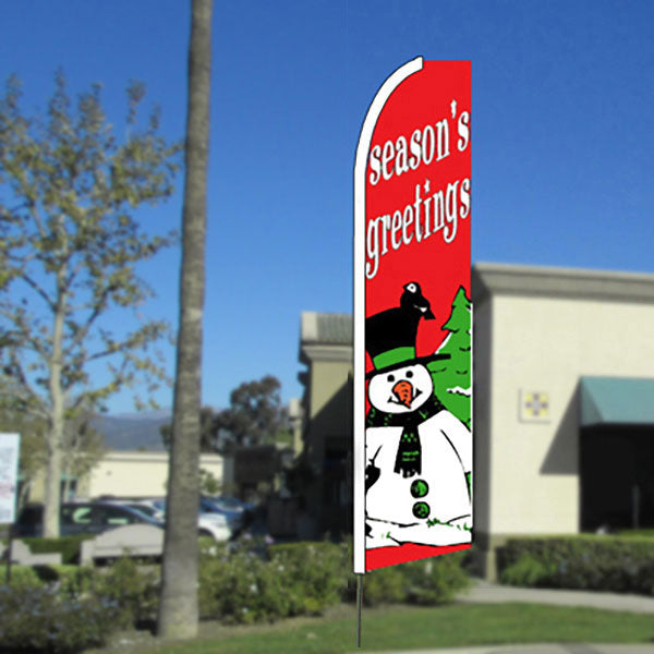 Season's Greetings (Red/Snowman) Flutter Feather Banner Flag with Bundle Option (11.5 x 2.5 Feet)