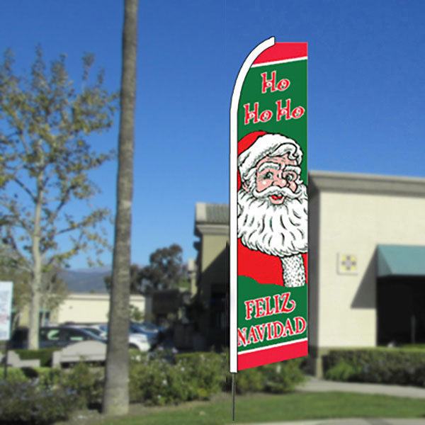 Ho Ho Ho (Feliz Navidad) Flutter Feather Banner Flag with Bundle Option (11.5 x 2.5 Feet)
