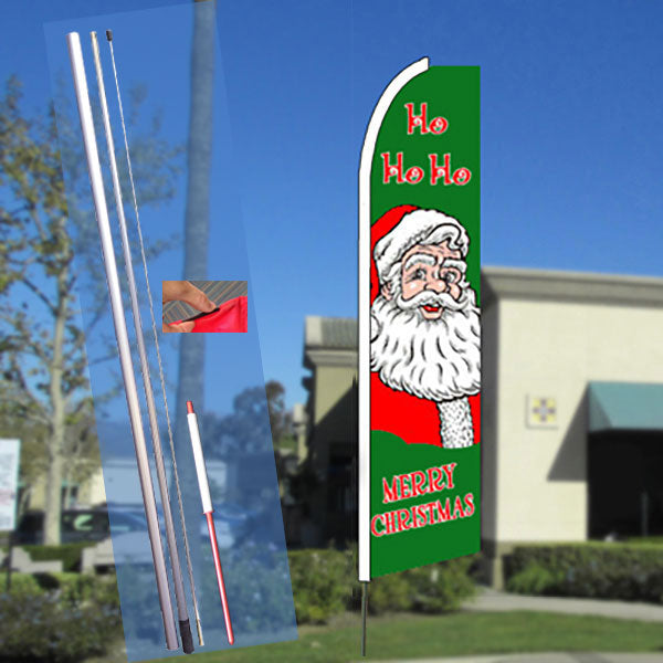 HO HO HO Merry Christmas Flutter Feather Banner Flag Kit (Flag, Pole, & Ground Mt)