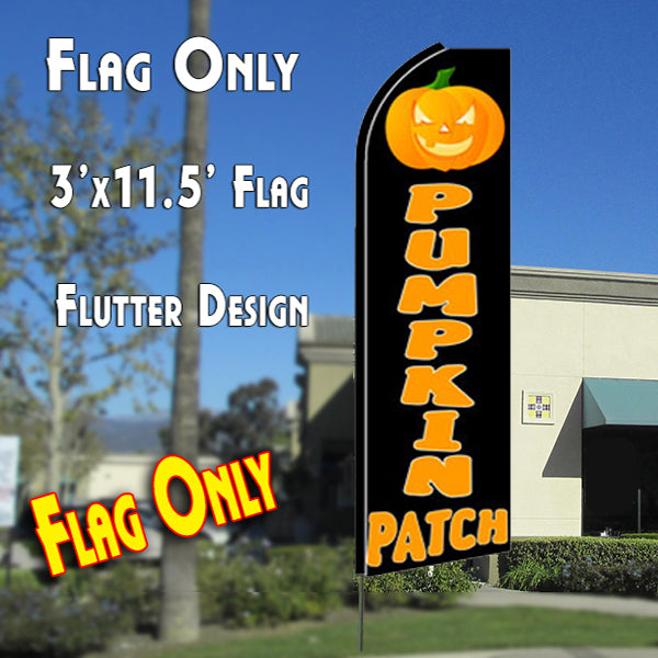 PUMPKIN PATCH (Black) Flutter-Style Feather Flag Bundle 14' OR Replacement Flag Only 11.5'