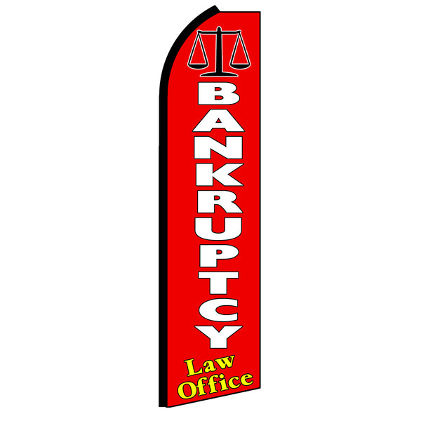 Bankruptcy Law Office Flutter Feather Banner Flag with Bundle Option (3 x 11.5 Feet)