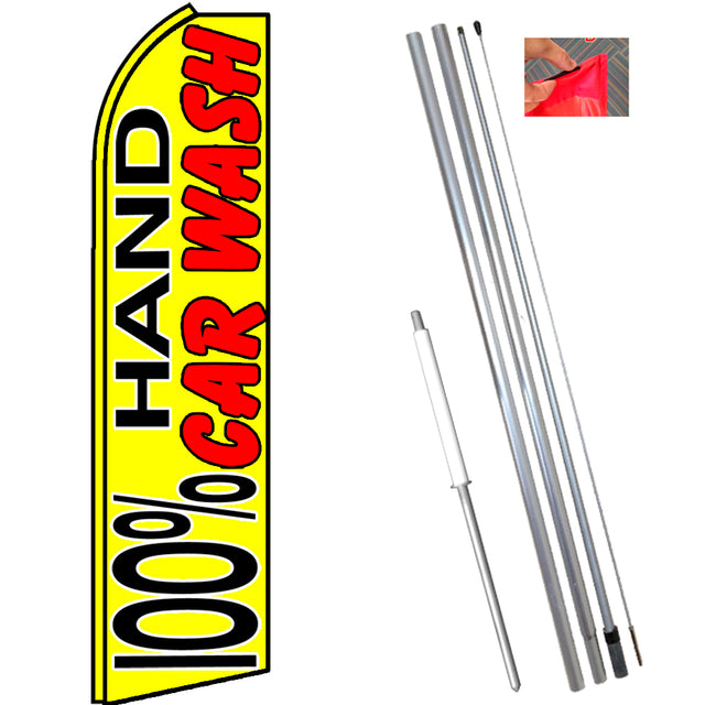 100% HAND CAR WASH (Yellow) Flutter Feather Banner Flag Kit (Flag, Pole, & Ground Mt)
