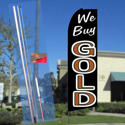 WE BUY GOLD (Black/Gold) Flutter Feather Banner Flag Kit (Flag, Pole, & Ground Mt)