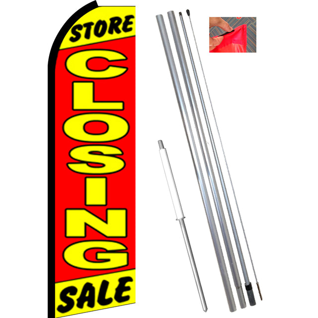 STORE CLOSING SALE (Yellow/Red) Flutter Feather Banner Flag Kit (Flag, Pole, & Ground Mt)