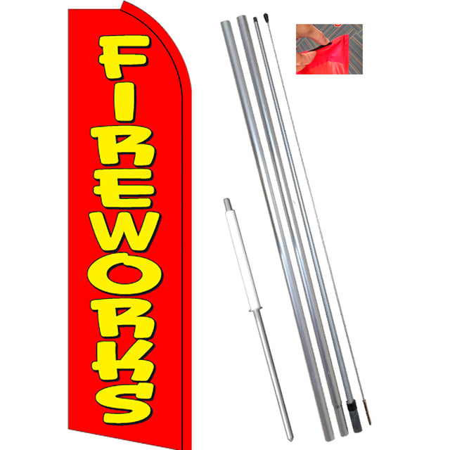 FIREWORKS (Red) Flutter Feather Flag Kit (Flag, Pole, & Ground Mt)