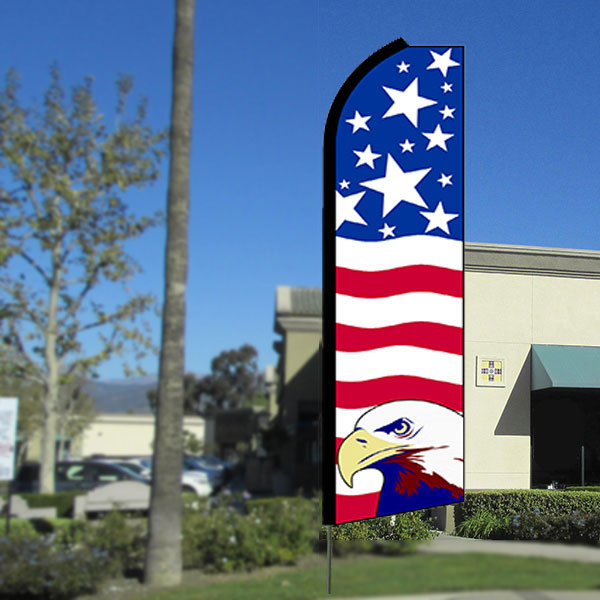 USA Pride (Eagle) Flutter Feather Banner Flag with Bundle Option (3 x 11.5 Feet)