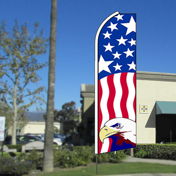 Usa Patriotic (Eagle) Flutter Feather Banner Flag with Bundle Option (3 x 11.5 Feet)