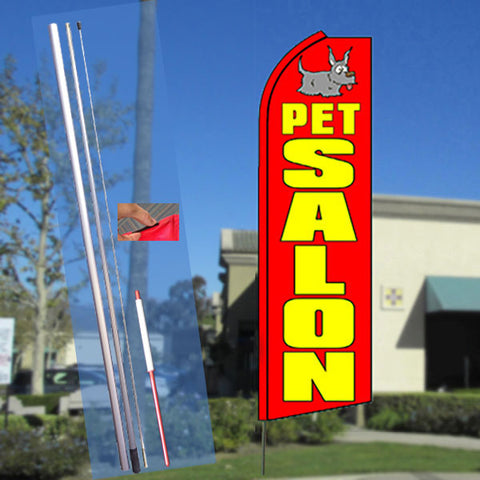 PET SALON (Red) Flutter Feather Banner Flag Kit (Flag, Pole, & Ground Mt)