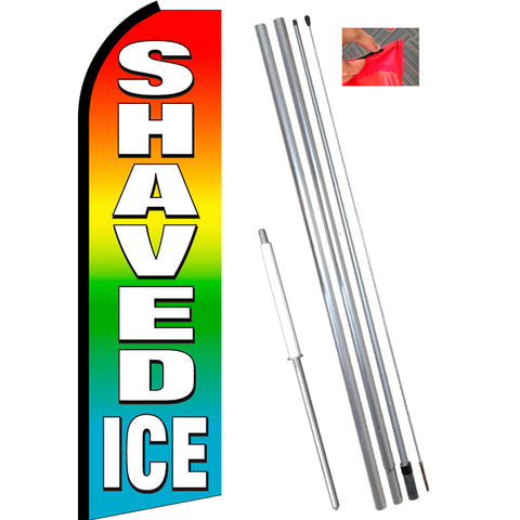 SHAVED ICE (Multi-color) Flutter Feather Banner Flag Kit (Flag, Pole, & Ground Mt)