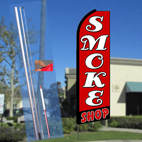 SMOKE SHOP (Red/Black) Flutter Feather Banner Flag Kit (Flag, Pole, & Ground Mt)