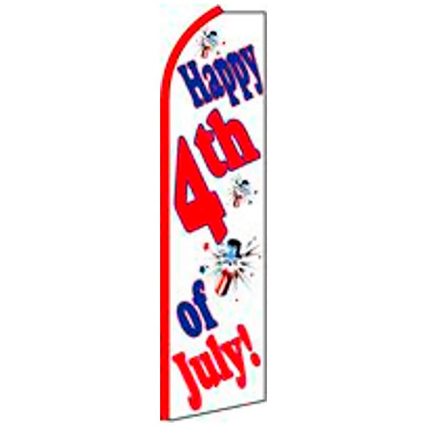 Happy 4th Of July Flutter Feather Banner Flag with Bundle Option (3 x 11.5 Feet)