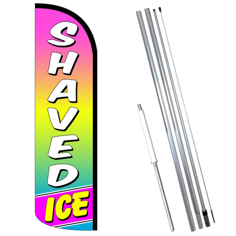 Shaved Ice Premium Windless-Style Feather Flag Bundle 14' OR Replacement Flag Only 11.5'