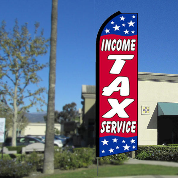 Income Tax Service (Red/Stars) Flutter Feather Banner Flag with Bundle Option (3 x 11.5 Feet)
