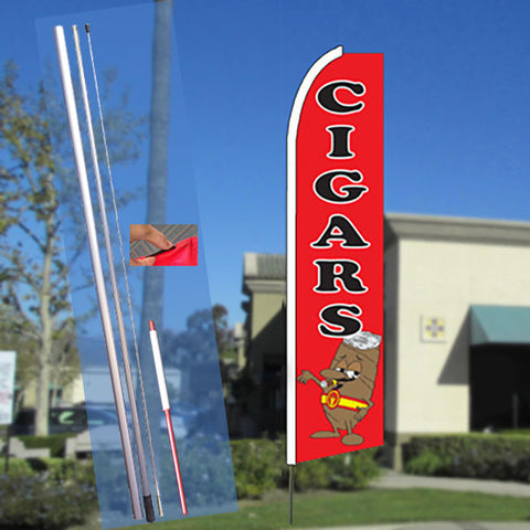 CIGARS (Red) Flutter Feather Banner Flag Kit (Flag, Pole, & Ground Mt)