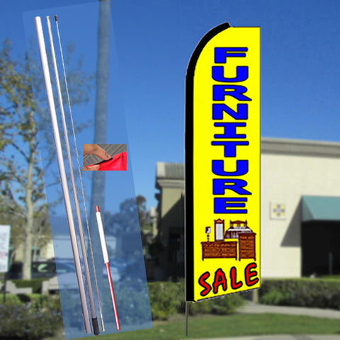 FURNITURE SALE (YELLOW) FLUTTER FEATHER BANNER FLAG KIT (FLAG, POLE, & GROUND MT)
