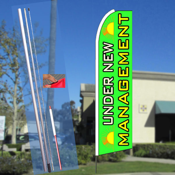 UNDER NEW MANAGEMENT (GREEN) FLUTTER FEATHER BANNER FLAG KIT (FLAG, POLE, & GROUND MT)