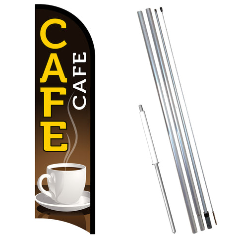 CAFE Premium Windless-Style Feather Flag Bundle 14' OR Replacement Flag Only 11.5'