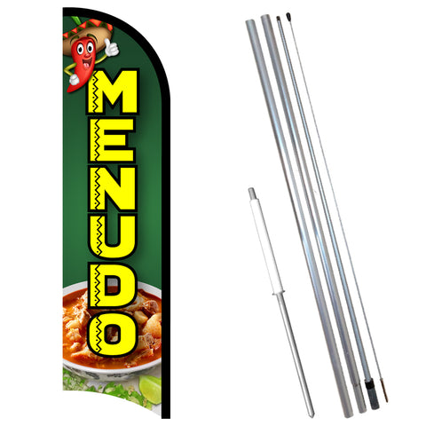 MENUDO Premium Windless-Style Feather Flag Bundle 14' OR Replacement Flag Only 11.5'