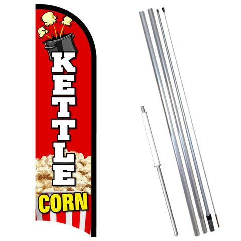 Kettle Corn Premium Windless-Style Feather Flag Bundle 14' OR Replacement Flag Only 11.5'