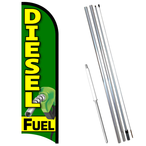 Diesel Fuel Premium Windless-Style Feather Flag Bundle 14' OR Replacement Flag Only 11.5'