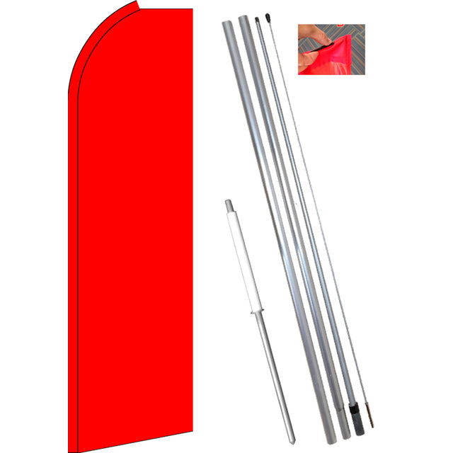 Solid RED Flutter Feather Banner Flag Kit (Flag, Pole, & Ground Mt)