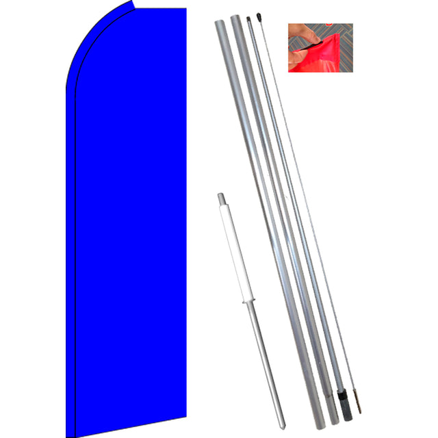 Solid BLUE Flutter Feather Banner Flag Kit (Flag, Pole, & Ground Mt)