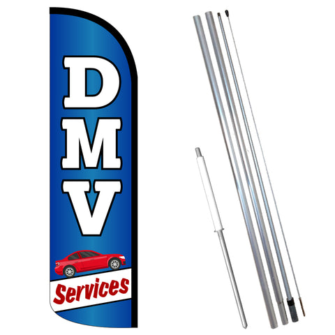 DMV Services Premium Windless-Style Feather Flag Bundle 14' OR Replacement Flag Only 11.5'