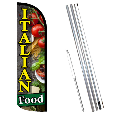 Italian Food Premium Windless-Style Feather Flag Bundle 14' OR Replacement Flag Only 11.5'