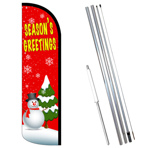 Season's Greetings Premium Windless-Style Feather Flag Bundle 14' OR Replacement Flag Only 11.5'