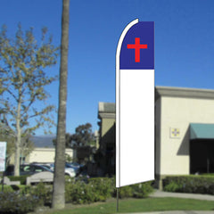 Christian Cross Flutter Feather Banner Flag with Bundle Option (11.5 x 2.5 Feet)