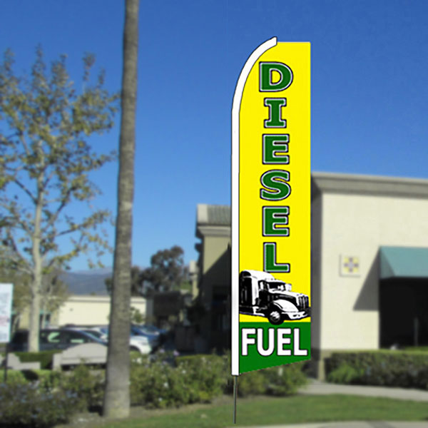 Diesel Fuel Flutter Feather Banner Flag with Bundle Option (11.5 x 2.5 Feet)