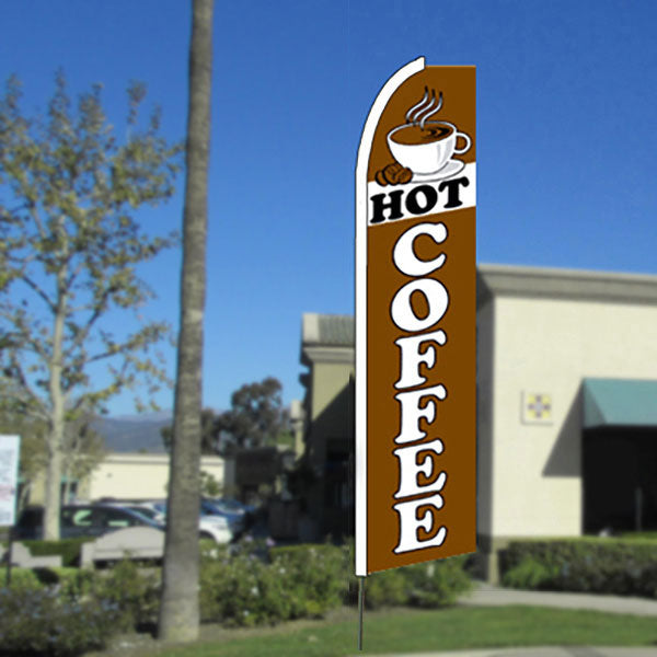 Hot Coffee Flutter Feather Banner Flag with Bundle Option (11.5 x 2.5 Feet)