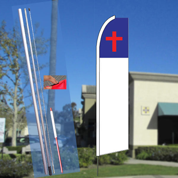 Christian Cross Flutter Feather Banner Flag Kit (Flag, Pole, & Ground Mt)