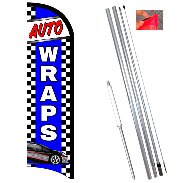 Auto Wraps Premium Windless-Style Feather Flag Bundle 14' OR Replacement Flag Only 11.5'